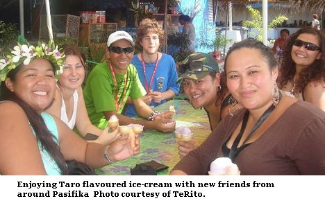 eating taro ice-cream with friends