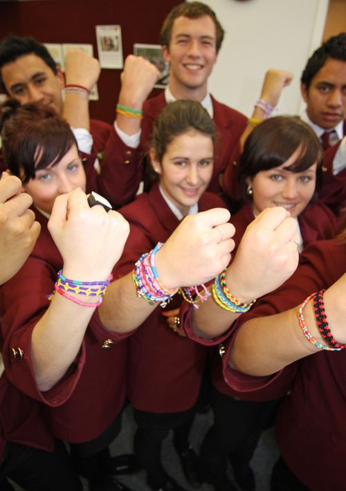 Members of the senior council at Kaitaia College in Northland show off their friendship bracelets. Photo courtesy of The Northland Age.